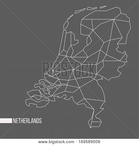 Abstract polygonal geometric Netherlands minimalistic vector map isolated on grey background