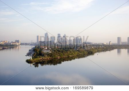 The view of calm early morning in Tampa city (Florida).