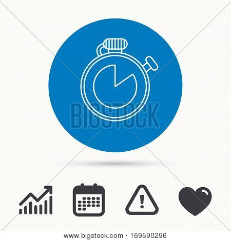 Timer icon. Stopwatch sign. Sport competition symbol. Calendar, attention sign and growth chart. Button with web icon. Vector