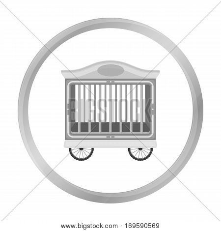 Circus wagon icon in monochrome style isolated on white background. Circus symbol vector illustration.
