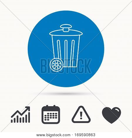 Recycle bin icon. Trash container sign. Street rubbish symbol. Calendar, attention sign and growth chart. Button with web icon. Vector