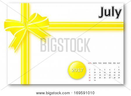 July 2017 - Calendar series with gift ribbon design