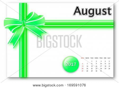 August 2017 - Calendar series with gift ribbon design