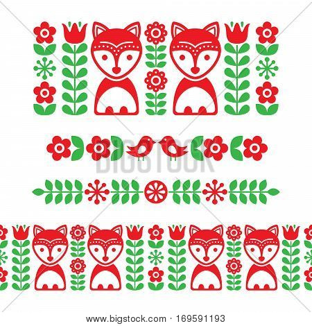 Scandinavian folk art pattern - long stripe, seamless background, Finnish inspired, Nordic style