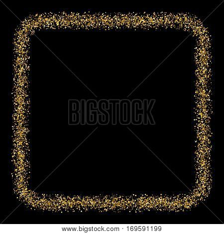 Gold frame glitter texture isolated on black. Amber particles color. Celebratory background. Golden explosion of confetti. Vector illustrationeps 10...
