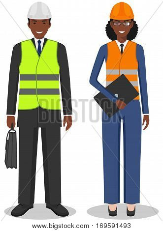 Couple of african american people isolated on white background. Set of engineers, business african american man and woman standing together. Cute and simple in flat style.