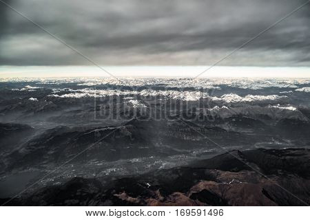 Bad weather over the Italian Alps