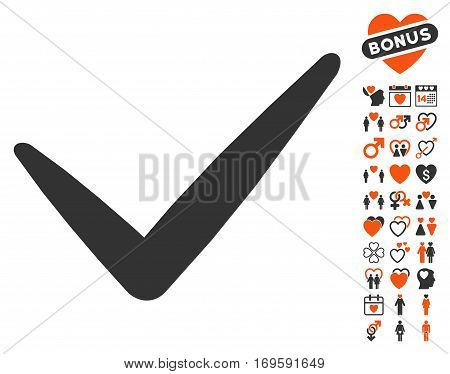 Valid pictograph with bonus passion icon set. Vector illustration style is flat iconic symbols for web design app user interfaces.