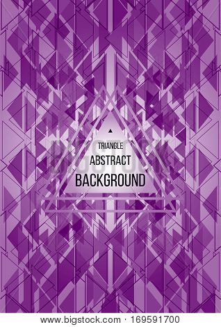 Creative triangle abstract geometric lilac background flyer