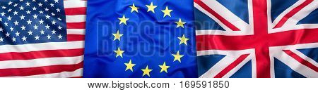 USA UK and EU flags. Collage of three flags. Flags of EU UK and USA together.