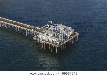 Malibu, California, USA - December 17, 2016:  Aerial of historic Malibu Pier in the Santa Monica Bay.