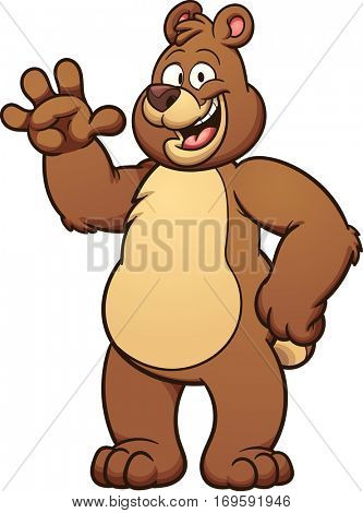 Happy cartoon bear. Vector clip art illustration with simple gradients. Some elements on separate layers.