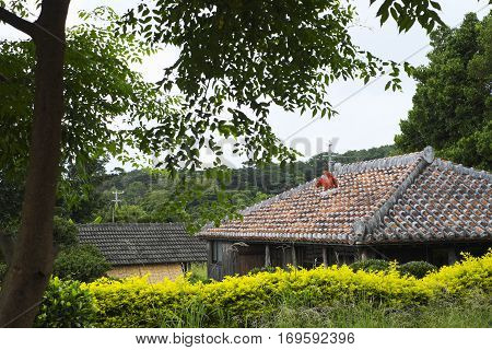 Red tile roof of old private house in Okinawa