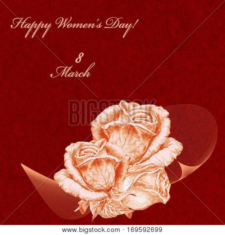 International Women's Day celebrated on March 8 greeting card. Orange roses on red textured background. In some countries this holiday coincides with Mother's Day.