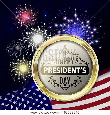 Fireworks with usa flag and gold emblem for presidents day. Template for usa holidays like president day, mlk day, 4th july  etc. Night holiday sky with salute for usa in vector