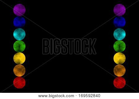Illustration of the seven chakras on a black background