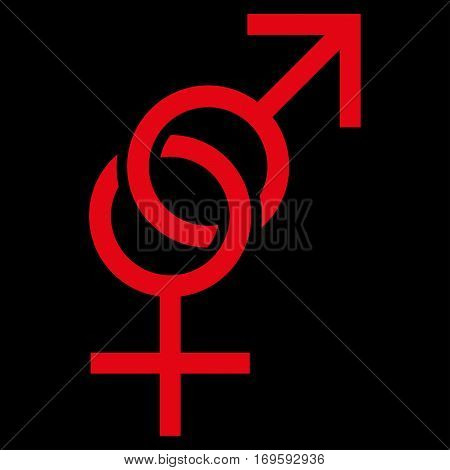 Sex Symbol flat icon. Vector red symbol. Pictogram is isolated on a black background. Trendy flat style illustration for web site design logo ads apps user interface.