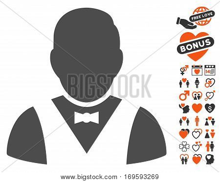 Waiter pictograph with bonus marriage pictograms. Vector illustration style is flat iconic elements for web design app user interfaces.