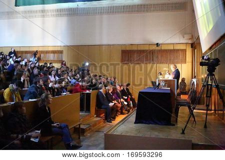 MOSCOW, RUSSIA - FEB 17, 2016: Students and Vice-chancellor Sadovnichy at lecture - Sciences in University of Moscow, Latest achievements. at Faculty of journalism in Lomonosov moscow state university