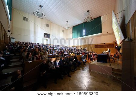 MOSCOW, RUSSIA - FEB 17, 2016: Students and guests at lecture - Sciences in University of Moscow, Latest achievements. at Faculty of journalism in Lomonosov moscow state university