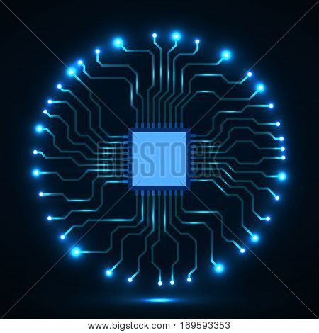 Abstract cpu. Microprocessor. Microchip. Circuit board. Vector