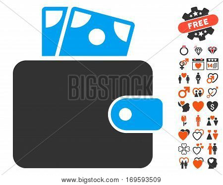 Wallet pictograph with bonus lovely pictures. Vector illustration style is flat iconic elements for web design app user interfaces.
