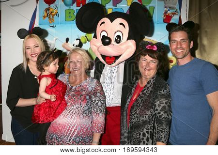 LOS ANGELES - DEC 4:  Adrienne Frantz Bailey, Amelie Bailey, Scott Bailey's ma, Mickey Mouse, Vicki Franz, Scott Bailey at the Amelie Bailey's 1st Birthday Party on December 4, 2016 in Studio CIty, CA