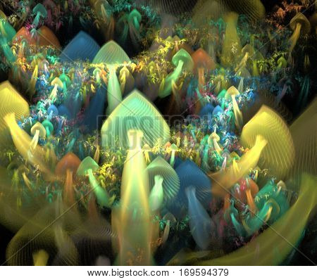 Midnight mushrooms. Fractal image. Chain of elements that resemble mushrooms. Abstract background. Surrealist image.