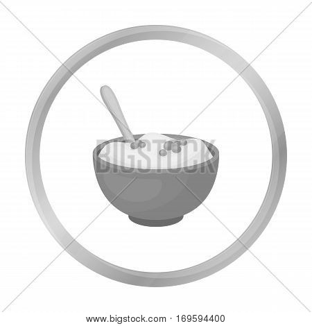 Mashed potatoes icon in monochrome style isolated on white background. Canadian Thanksgiving Day symbol vector illustration.