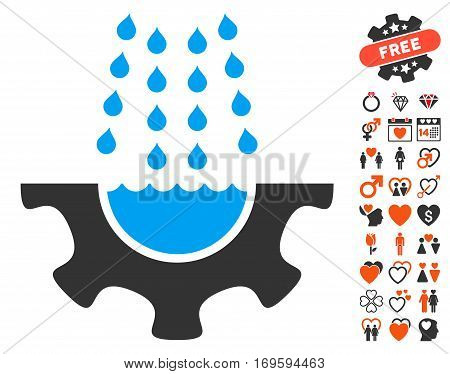 Water Shower Service Gear pictograph with bonus romantic symbols. Vector illustration style is flat iconic elements for web design app user interfaces.