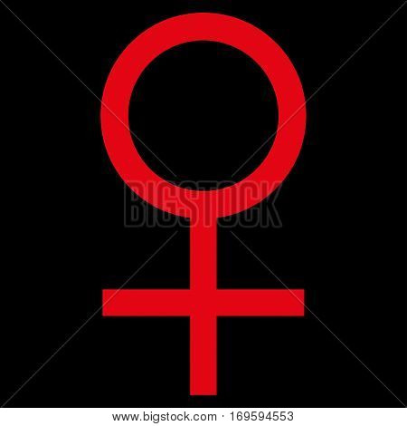 Venus Female Symbol flat icon. Vector red symbol. Pictogram is isolated on a black background. Trendy flat style illustration for web site design logo ads apps user interface.