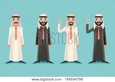 Arab Traditional National Muslim Clothes 3d Realistic Businessman Cartoon Character Icon Stylish Background Retro Cartoon Design Vector Illustration