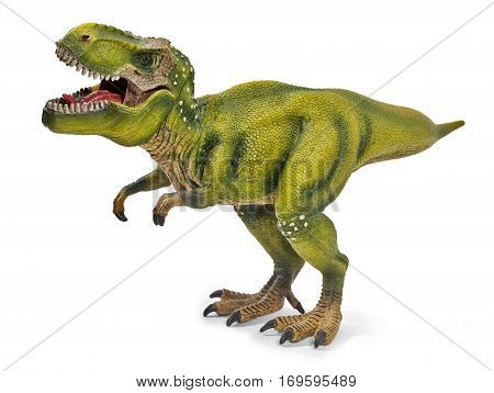 Tyrannosaurus dinosaurs toy isolated on white background with clipping path.