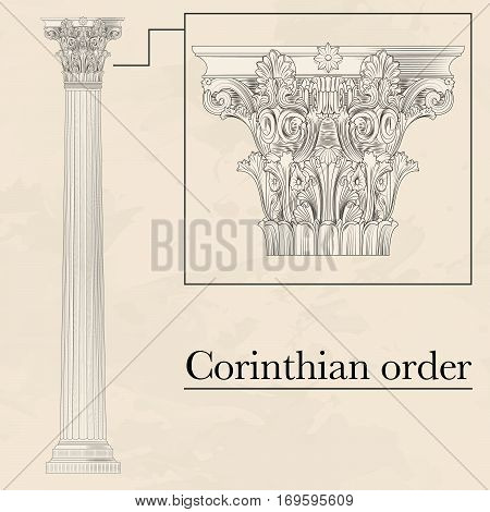 Classical hellenic architectural corinthian style order on marble background