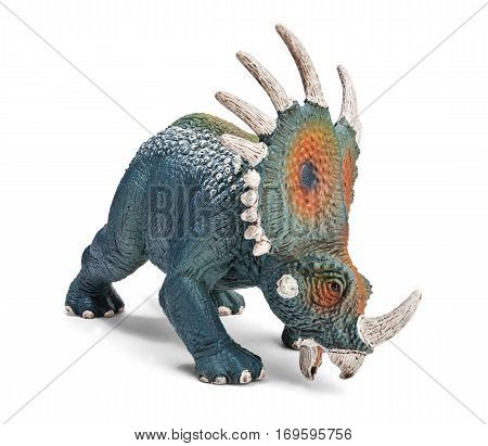Styracosaurus dinosaurs toy isolated on white background with clipping path. Dinosaur from the Cretaceous Period (Campanian stage).