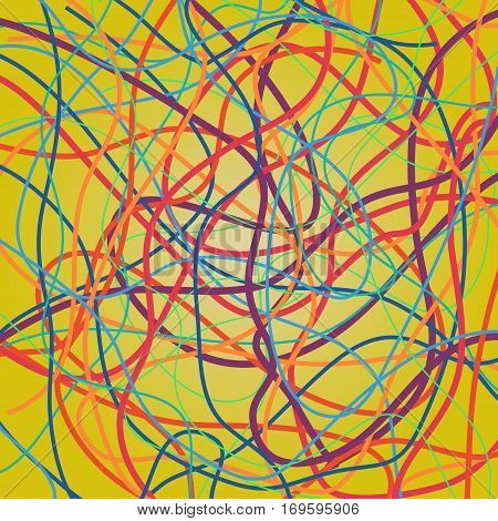 Vector background with moving colorful lines. Bright curves lines with a lot of colors on yellow background.