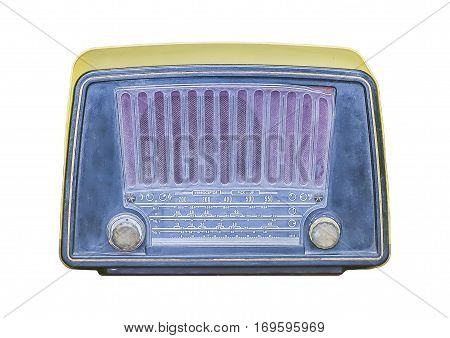 Front View Old Radio Isolated