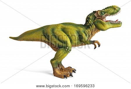 Tyrannosaurus, side view, dinosaurs toy isolated on white background with clipping path.