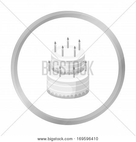 Birthday cake icon in monochrome design isolated on white background. Cakes symbol stock vector illustration.
