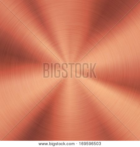 Bronze abstract technology background with polished, brushed circular metal texture, chrome, silver, steel, copper, rust for design concepts, web, posters, wallpapers and prints. Vector illustration.