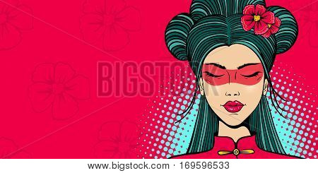 Pop art female face. Young sexy asian woman with eyes closed in a sling and flowers on her head on flower and halftone background. Vector illustration in retro comic style. Party invitation poster.