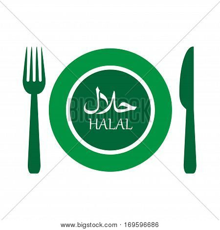 vector illustration of halal plate label with fork and knife. EPS