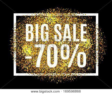 Gold Glitter Background Big Sale 70 Percent Off Sale Promotion Tag. New Year, Christmas Shop Offer.