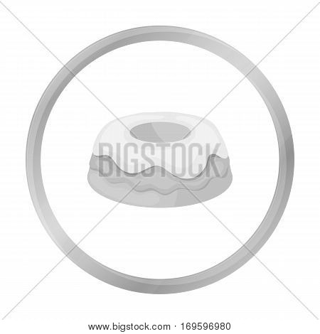Cake icon in monochrome design isolated on white background. Cakes symbol stock vector illustration.