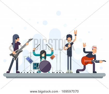 Heavy Hard Rock Folk Group Band Music Icons Guitarist Singer Bassist Drummer Concept Flat Vector Illustration