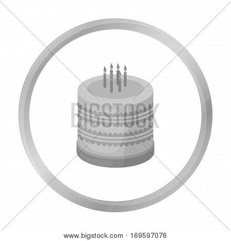 Bicolor cake icon in monochrome design isolated on white background. Cakes symbol stock vector illustration.