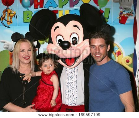 LOS ANGELES - DEC 4:  Adrienne Frantz Bailey, Amelie Bailey, Mickey Mouse Character, Scott Bailey at the Amelie Bailey's 1st Birthday Party at Private Residence on December 4, 2016 in Studio CIty, CA