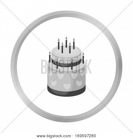 Cake with hearts icon in monochrome design isolated on white background. Cakes symbol stock vector illustration.