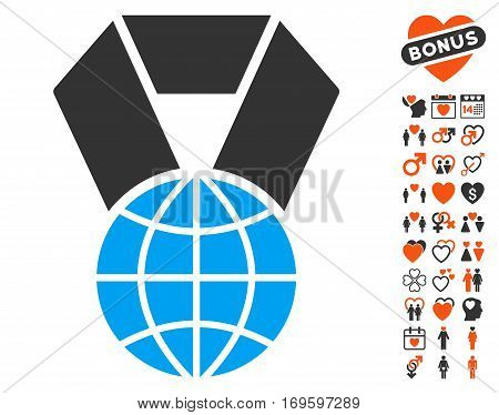 World Award pictograph with bonus decorative pictograph collection. Vector illustration style is flat iconic elements for web design app user interfaces.