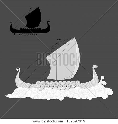 Viking drakkar longship in the sea gravure style illustration with black silhouette on grey background